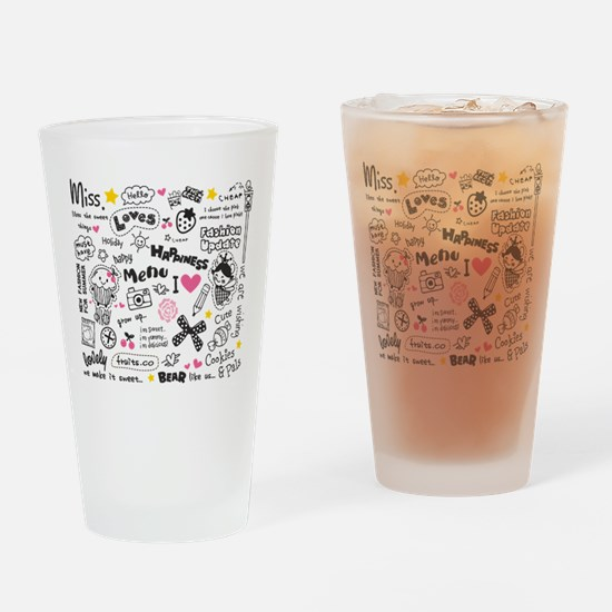 Images and Words Drinking Glass