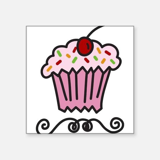 "Pink Cupcake Square Sticker 3"" x 3"""