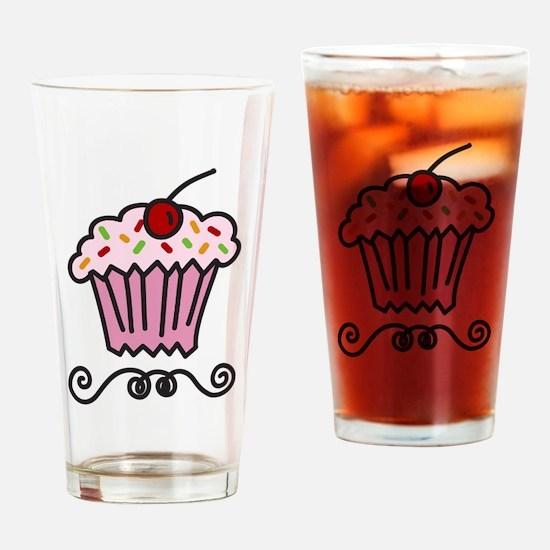 Pink Cupcake Drinking Glass