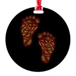 Tribal Toes Round Ornament