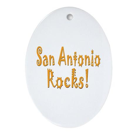 San Antonio Rocks! Oval Ornament