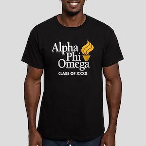 Alpha Phi Omega Letter Men's Fitted T-Shirt (dark)