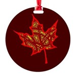 Fire Leaf Round Ornament