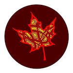 Fire Leaf Round Car Magnet