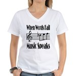 Music Speaks Women's V-Neck T-Shirt