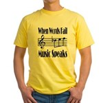 Music Speaks Yellow T-Shirt