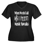 Music Speaks Women's Plus Size V-Neck Dark T-Shirt