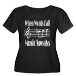 Music Speaks Women's Plus Size Scoop Neck Dark T-S