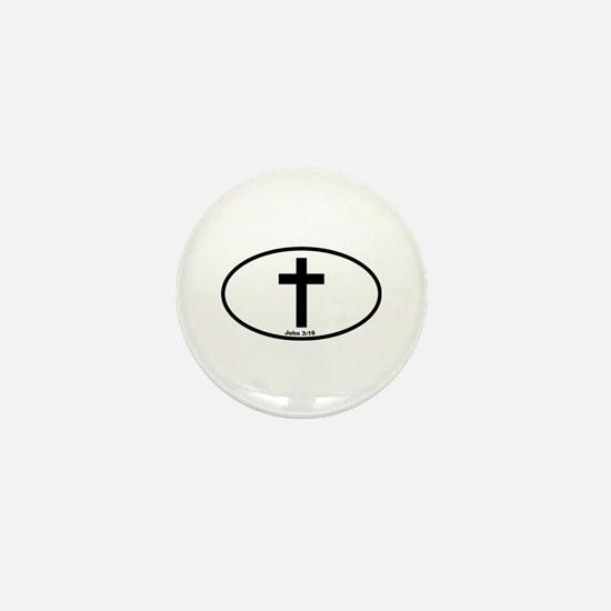 Cross Oval Mini Button