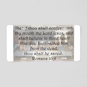 Romans 10:9 Aluminum License Plate