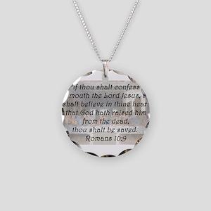 Romans 10:9 Necklace Circle Charm