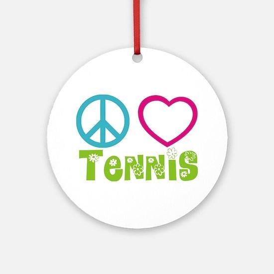 Peace Love Tennis Ornament (Round)