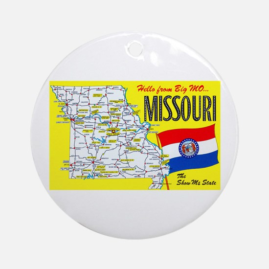 Missouri Map Greetings Ornament (Round)