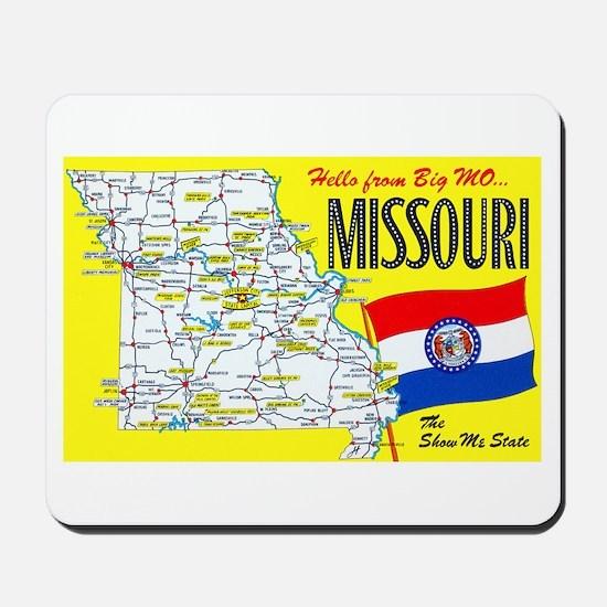 Missouri Map Greetings Mousepad