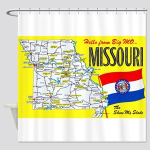 Missouri Map Greetings Shower Curtain