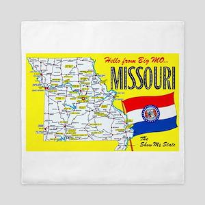 Missouri Map Greetings Queen Duvet