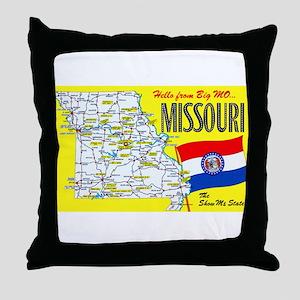 Missouri Map Greetings Throw Pillow