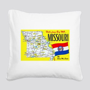 Missouri Map Greetings Square Canvas Pillow