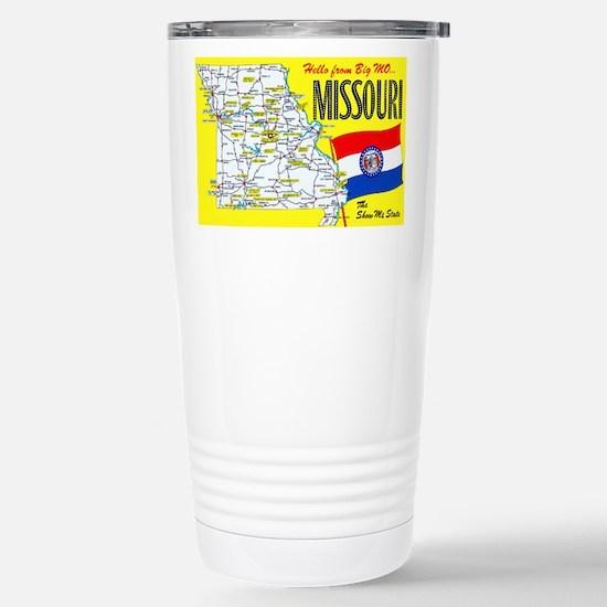 Missouri Map Greetings Stainless Steel Travel Mug