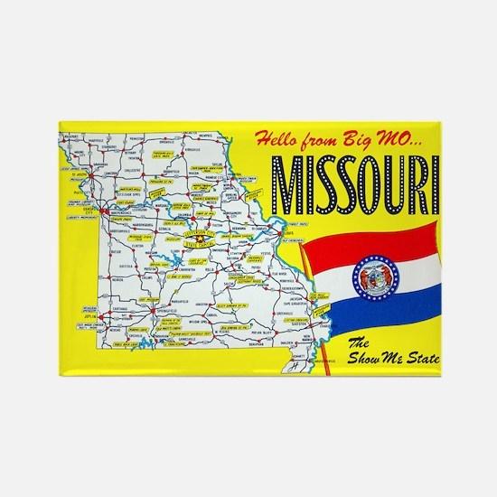 Missouri Map Greetings Rectangle Magnet
