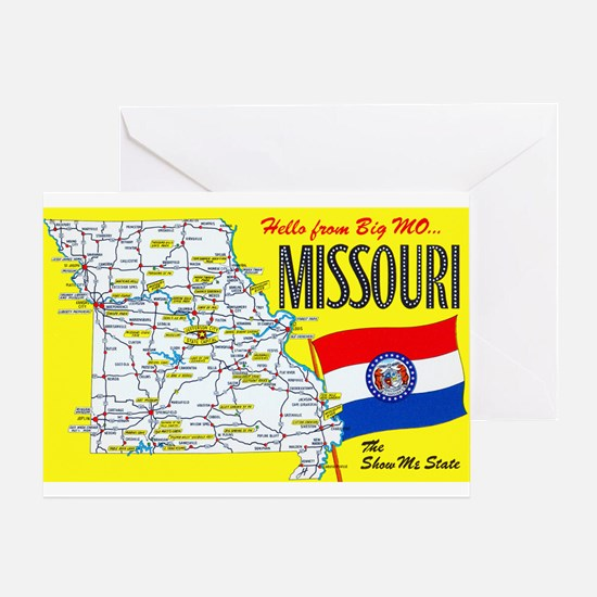 Missouri Map Greetings Greeting Card