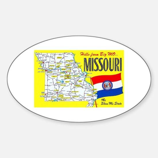 Missouri Map Greetings Sticker (Oval)