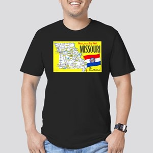 Missouri Map Greetings Men's Fitted T-Shirt (dark)
