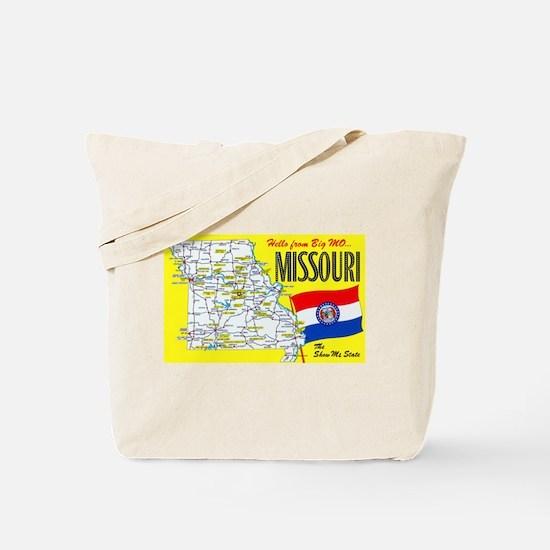 Missouri Map Greetings Tote Bag