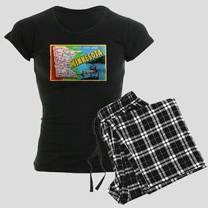 Minnesota Map Greetings Women's Dark Pajamas