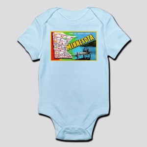 Minnesota Map Greetings Infant Bodysuit