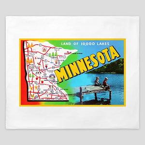 Minnesota Map Greetings King Duvet