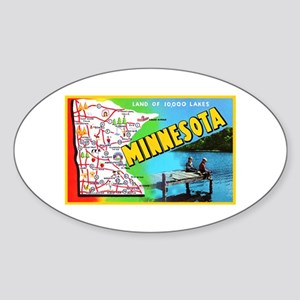 Minnesota Map Greetings Sticker (Oval)