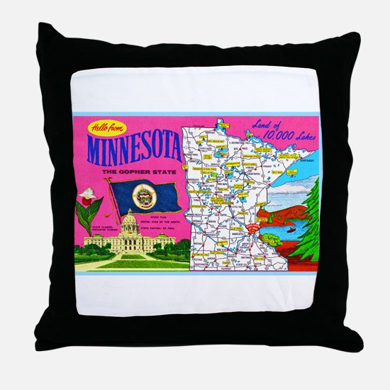 Minnesota Map Greetings Throw Pillow