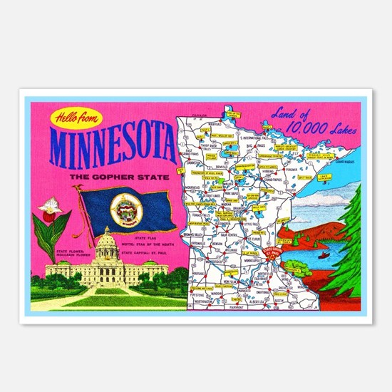 Minnesota Map Greetings Postcards (Package of 8)