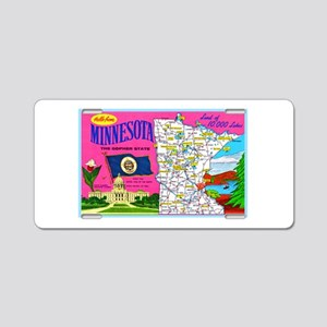 Minnesota Map Greetings Aluminum License Plate