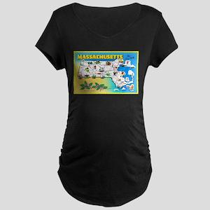 Massachussetts Map Greetings Maternity Dark T-Shir