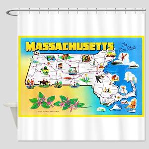 Massachussetts Map Greetings Shower Curtain