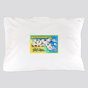 Massachussetts Map Greetings Pillow Case