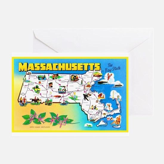 Massachussetts Map Greetings Greeting Card