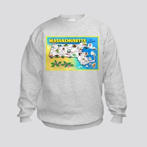 Massachussetts Map Greetings Kids Sweatshirt