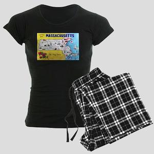 Massachussetts Map Greetings Women's Dark Pajamas