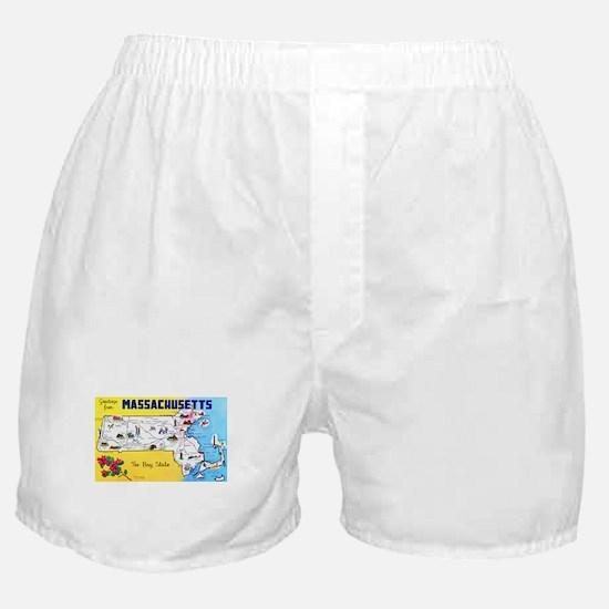 Massachussetts Map Greetings Boxer Shorts