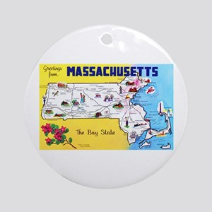 Massachussetts Map Greetings Ornament (Round)
