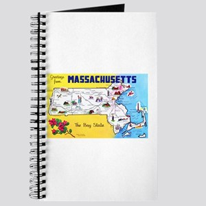 Massachussetts Map Greetings Journal