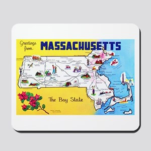 Massachussetts Map Greetings Mousepad