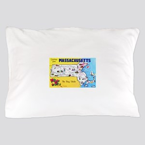 Massachussetts Map Greetings Pillow Case