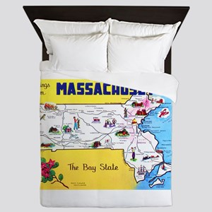 Massachussetts Map Greetings Queen Duvet