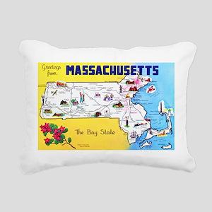 Massachussetts Map Greetings Rectangular Canvas Pi