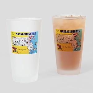 Massachussetts Map Greetings Drinking Glass