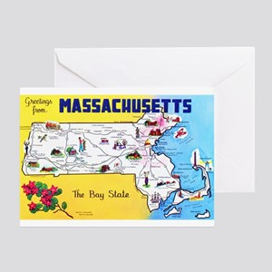 Massachussetts Map Greetings Greeting Card